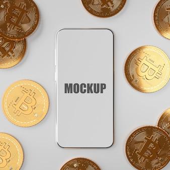 Bitcoin btc de ciptomoeda blockchain com maquete de smartphone