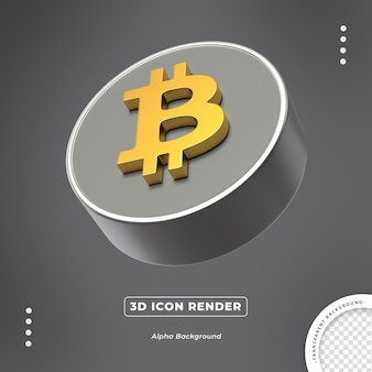 Bitcoin ouro 3d moeda isolada vista lateral render render