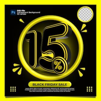 Black friday 15% de desconto na venda 3d render com a cor amarela