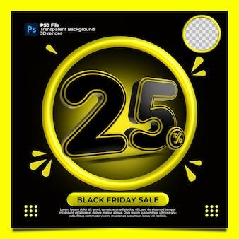 Black friday 25% de desconto na venda 3d render com a cor amarela