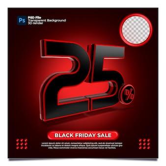 Black friday 25% de desconto na venda 3d render com a cor vermelha