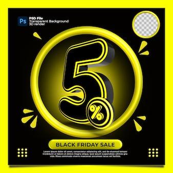 Black friday 5% de desconto na venda 3d render com a cor amarela