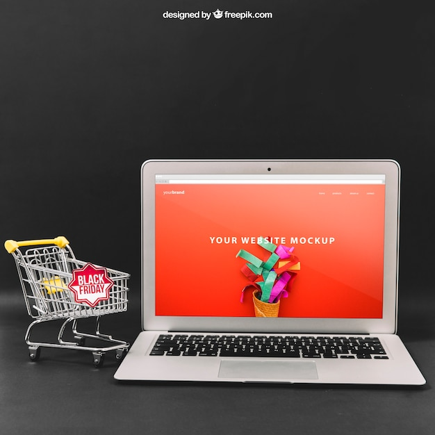Black friday maquete com laptop