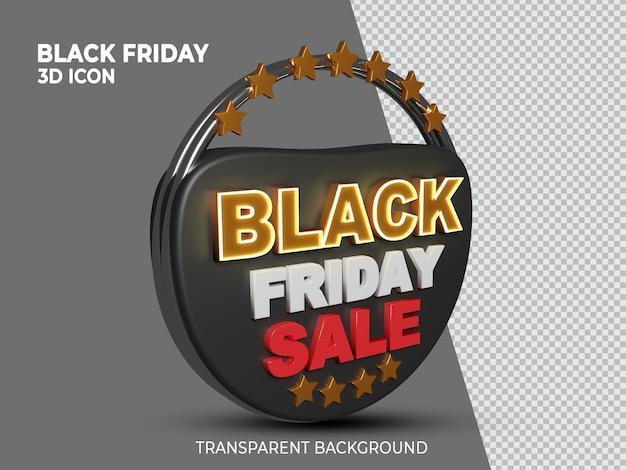 Black friday supervenda renderizada em 3d ao lado do ícone