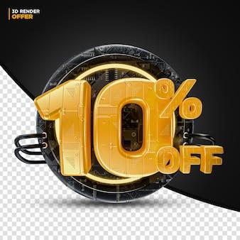 Black friday technology 10% de desconto na etiqueta de oferta de desconto renderização em 3d para composição