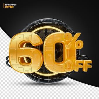 Black friday technology 60 por cento de desconto na etiqueta de oferta de desconto 3d render para composição