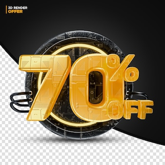 Black friday technology 70% de desconto na etiqueta de oferta de desconto renderização em 3d para composição