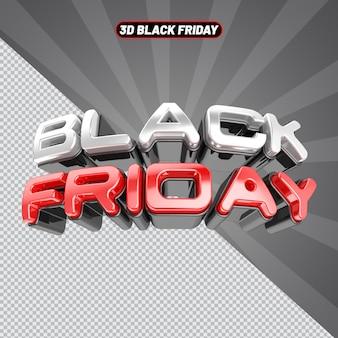 Black friday text 3d rendering
