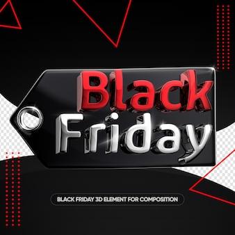 Black friday vermelho e prata em venda tag 3d render