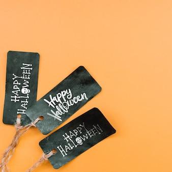 Black halloween tags maquete do dia das bruxas