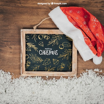 Blackboard maquete com design de christmtas