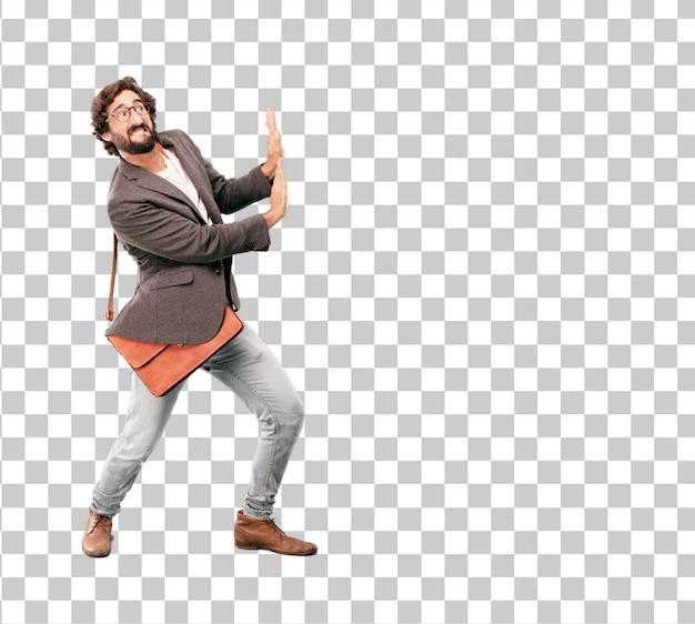 Blazer vestindo do homem de negócios farpado novo. empurrando o gesto com um espaço em branco vazio