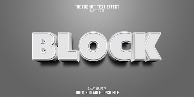 Bloco de design de modelo de efeito de estilo de texto 3d