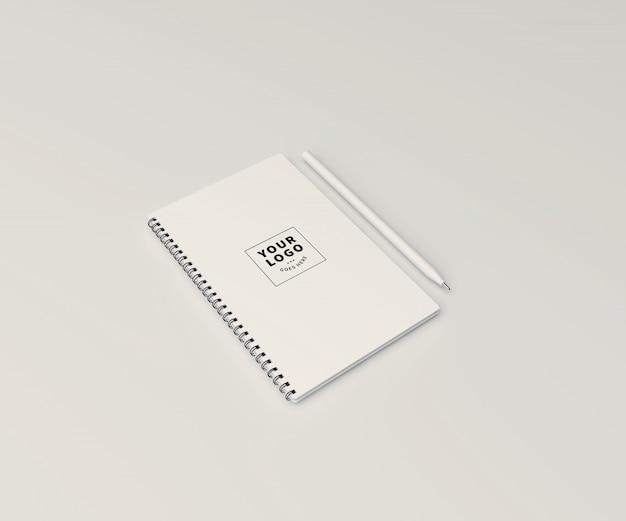 Bloco de notas maquete com caneta