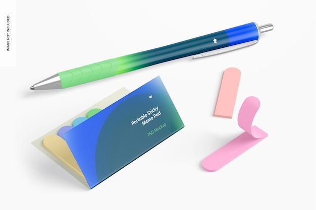 Bloco de notas pegajoso portátil com modelo de caneta