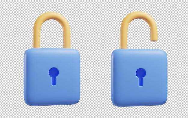 Bloqueie e desbloqueie a renderização de ilustração 3d
