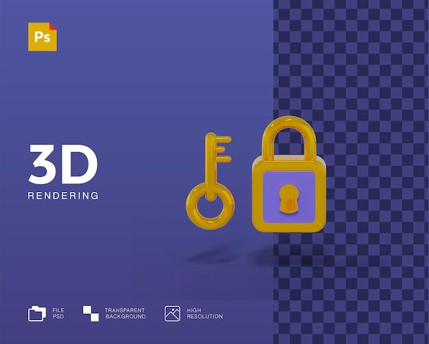 Bloqueio 3d com ilustração chave