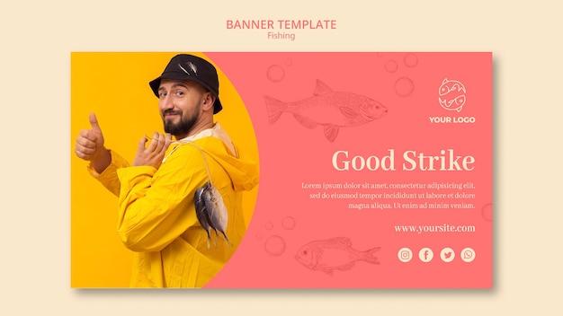 Boa greve e modelo de banner de pesca