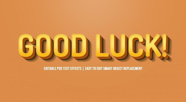 Boa sorte em efeitos de texto amarelo