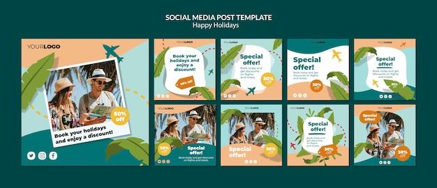 Boas festas post de mídia social