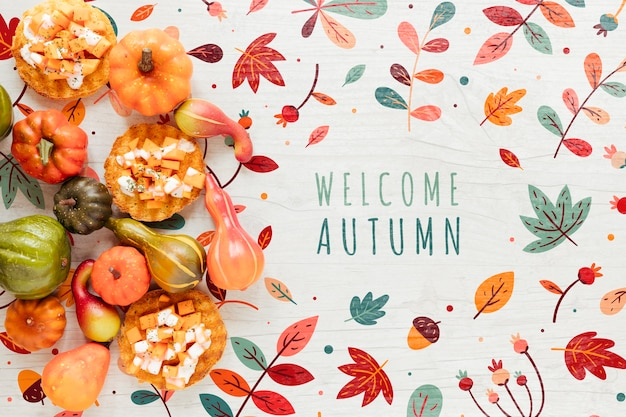Boas-vindas outono caligrafia e decoração natural