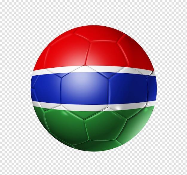 Bola de futebol 3d com bandeira do time da gâmbia