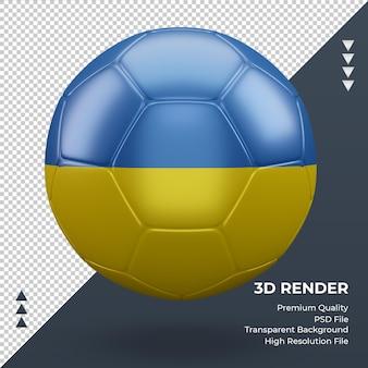 Bola de futebol bandeira da ucrânia com renderização 3d realista vista frontal