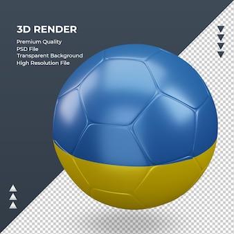 Bola de futebol bandeira da ucrânia renderização 3d realista vista direita