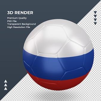 Bola de futebol, bandeira russa, renderização 3d realista, vista direita