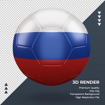 Bola de futebol, bandeira russa, renderização 3d realista, vista frontal Psd Premium