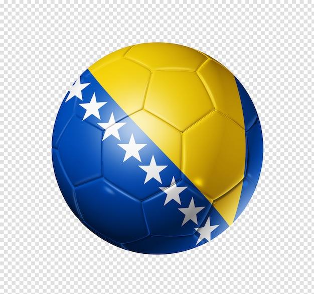 Bola de futebol com bandeira da bósnia e herzegovina