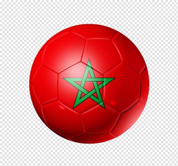 Bola de futebol com bandeira de marrocos