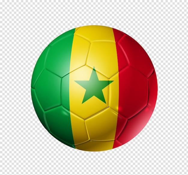 Bola de futebol com bandeira do senegal