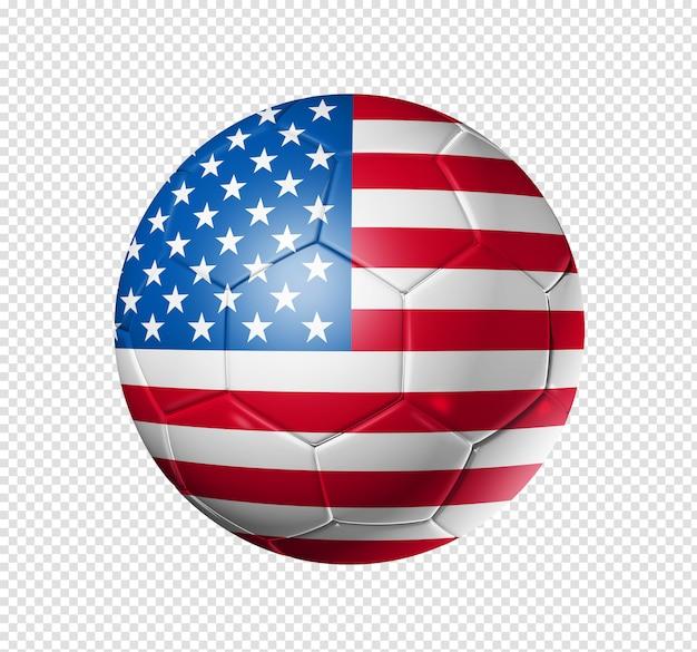 Bola de futebol com bandeira dos eua
