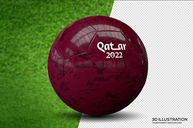 Bola de futebol copa do mundo qatar 2022 ilustração 3d