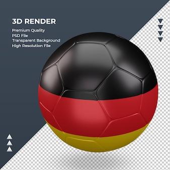 Bola de futebol da alemanha com renderização 3d realista vista direita
