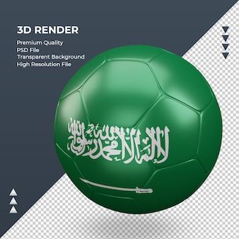 Bola de futebol da arábia saudita com renderização 3d realista vista direita