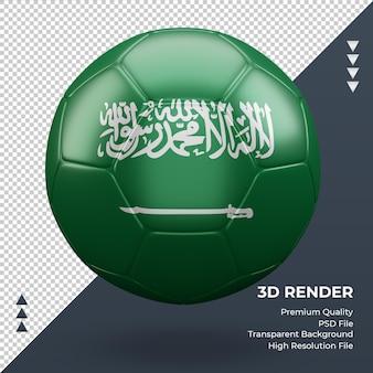 Bola de futebol da arábia saudita com renderização 3d realista vista frontal