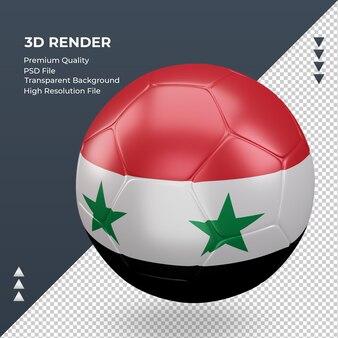 Bola de futebol da síria com renderização 3d realista vista direita