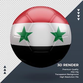 Bola de futebol da síria com vista frontal de renderização 3d realista
