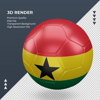 Bola de futebol gana bandeira renderização 3d realista vista direita
