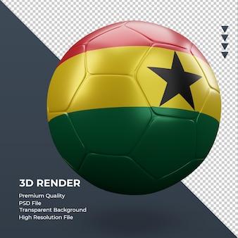 Bola de futebol gana bandeira renderização 3d realista vista esquerda
