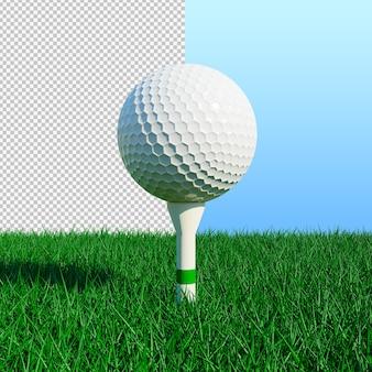 Bola de golfe e grama verde com ilustração isolada de um dia ensolarado