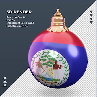 Bola de natal 3d bandeira de belize renderizando vista direita