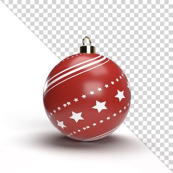 Bola de natal realista com padrão dourado e vermelho isolado
