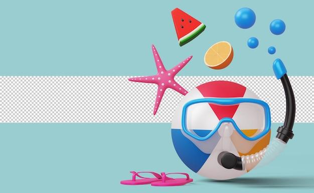 Bola de praia usando máscara de mergulho com estrela do mar, melancia e laranja, temporada de verão, renderização em 3d de verão