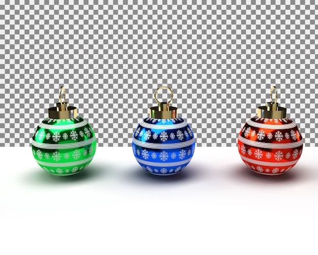 Bolas de natal coloridas com decorações realistas isoladas