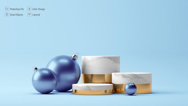 Bolas de natal e maquete de pedestal isoladas