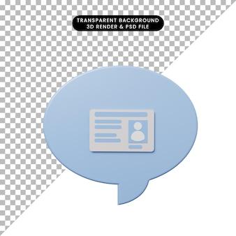 Bolha de bate-papo de ilustração 3d com cartão de visita