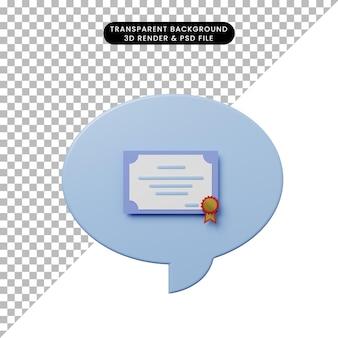 Bolha de bate-papo de ilustração 3d com certificado